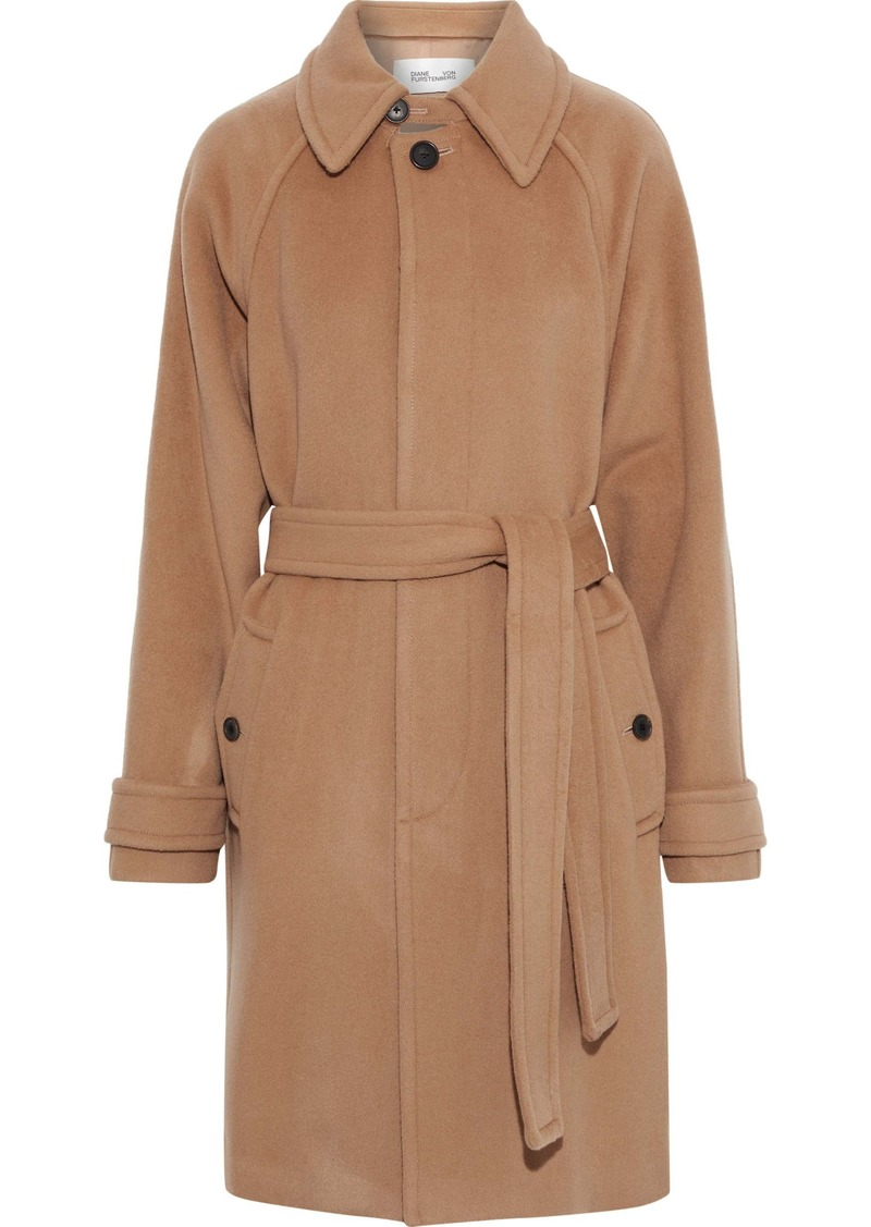Diane Von Furstenberg Woman Lia Belted Wool-felt Coat Tan