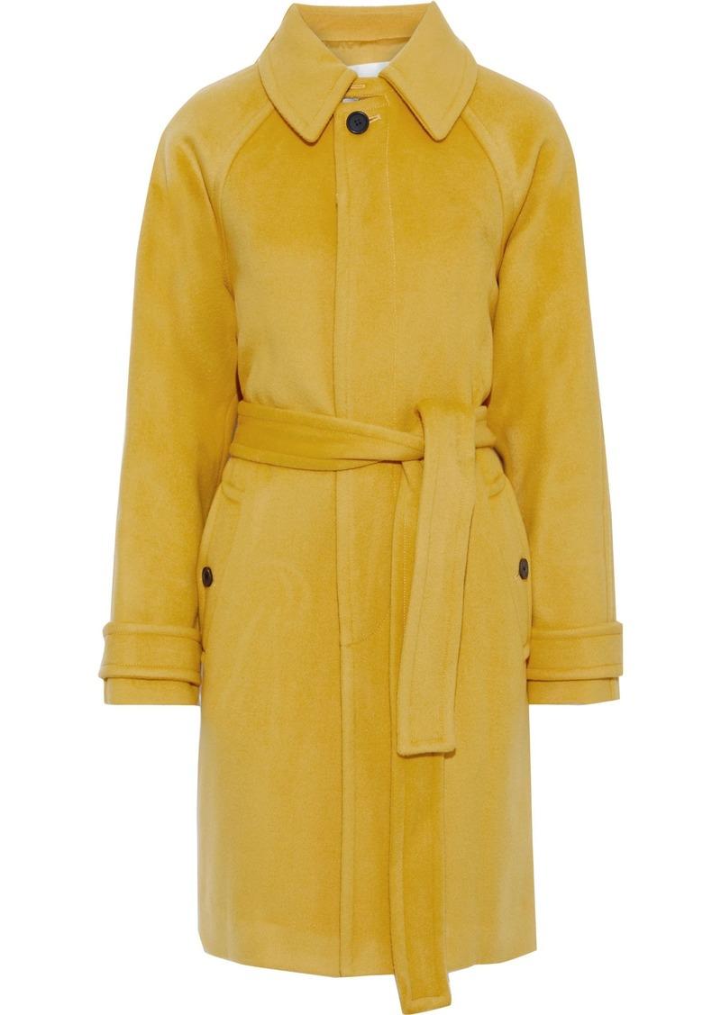 Diane Von Furstenberg Woman Lia Belted Wool-felt Coat Marigold