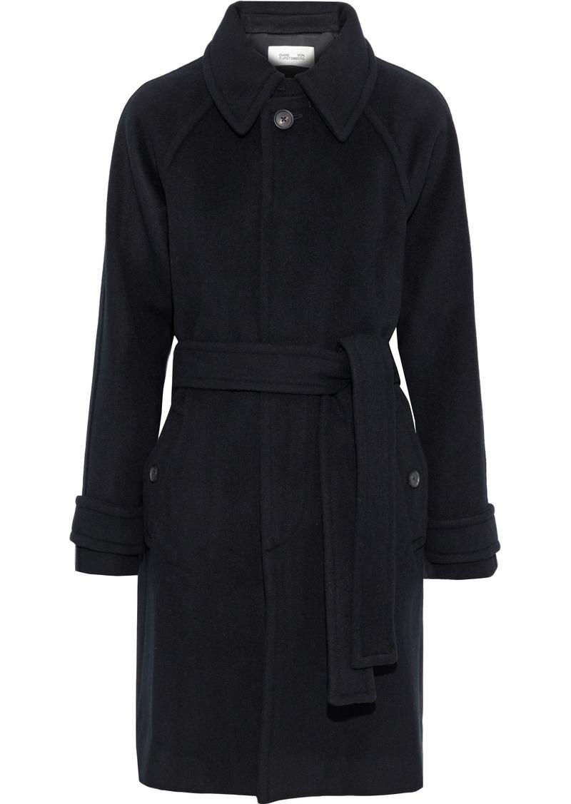 Diane Von Furstenberg Woman Lia Belted Wool-felt Coat Black