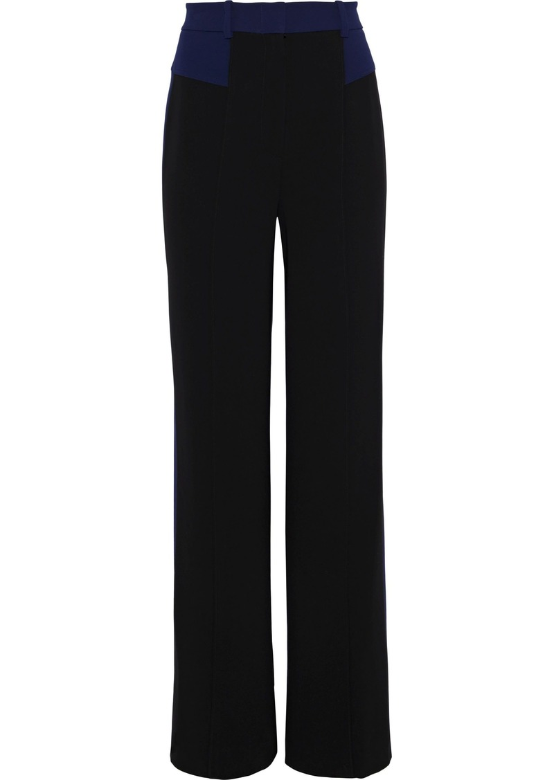 Diane Von Furstenberg Woman Liberty Two-tone Cady Wide-leg Pants Black