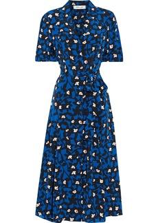 Diane Von Furstenberg Woman Lily Belted Floral-print Silk Crepe De Chine Midi Shirt Dress Royal Blue