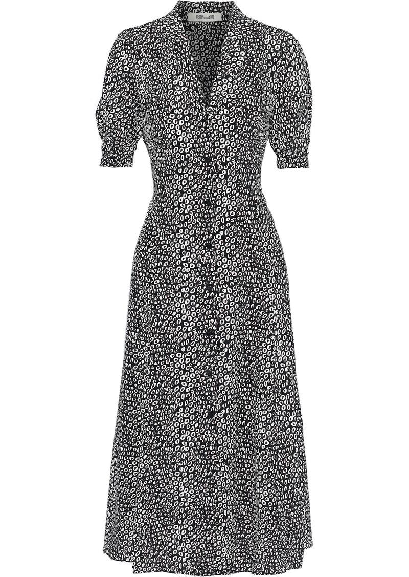 Diane Von Furstenberg Woman Lily Printed Silk Midi Dress Black