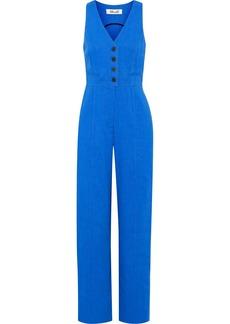 Diane Von Furstenberg Woman Linen-blend Twill Jumpsuit Bright Blue