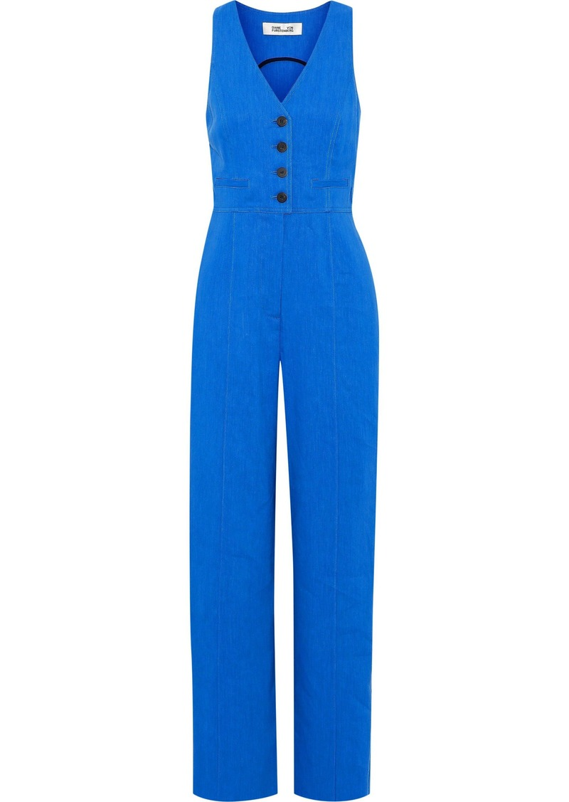 Diane Von Furstenberg Woman Linen-blend Twill Jumpsuit Bright Blue