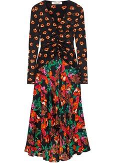 Diane Von Furstenberg Woman Linia Floral-print Mesh And Silk-blend Crepe De Chine Midi Dress Multicolor