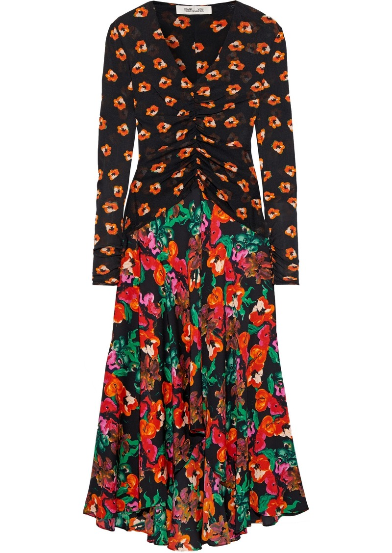 Diane Von Furstenberg Woman Linia Floral-print Mesh And Silk-blend Crepe De Chine Midi Dress Multicolor