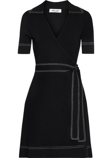 Diane Von Furstenberg Woman Liv Stretch-knit Mini Wrap Dress Black