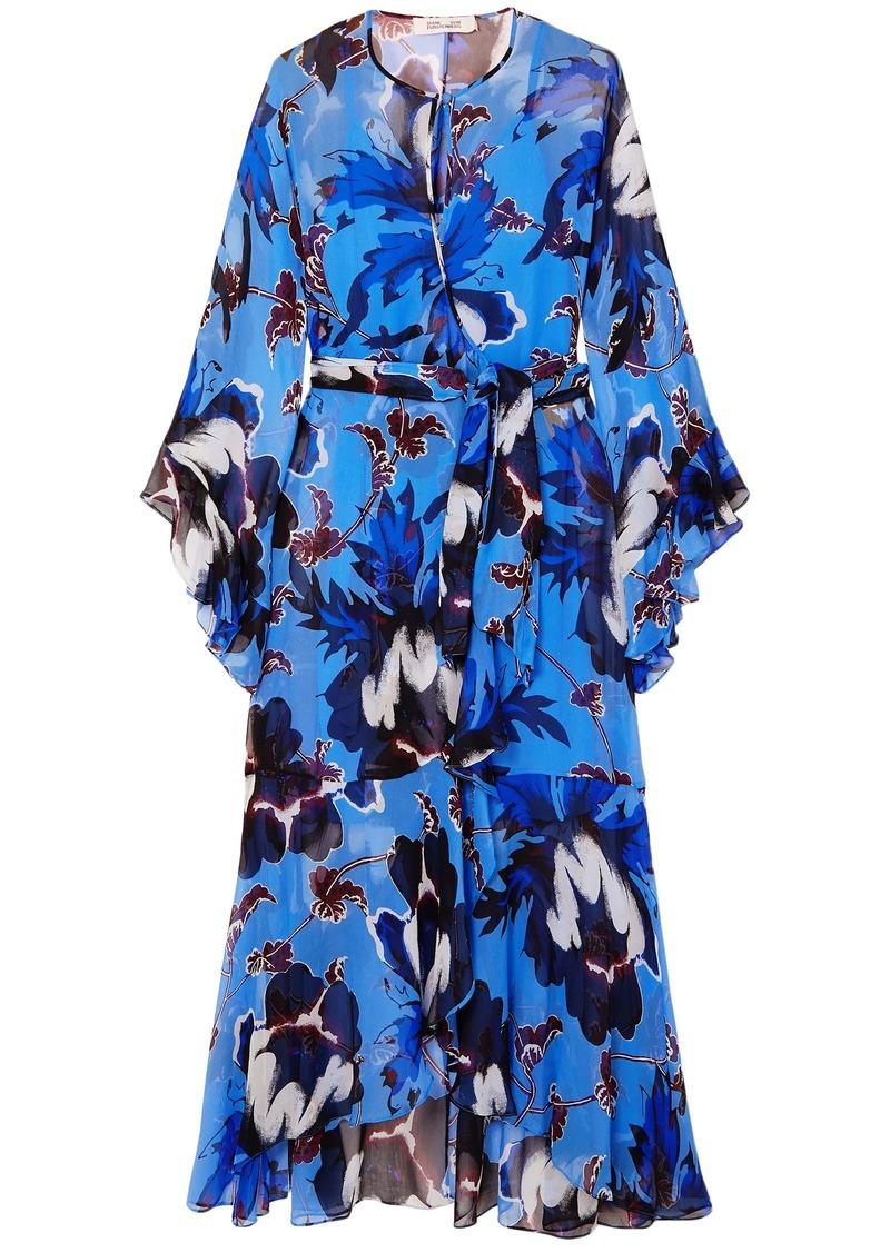 Diane Von Furstenberg Woman Lizella Ruffled Floral-print Crepon Wrap Maxi Dress Azure