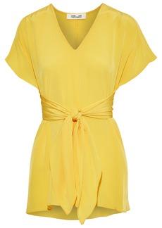 Diane Von Furstenberg Woman Lizzie Knotted Silk Crepe De Chine Top Yellow