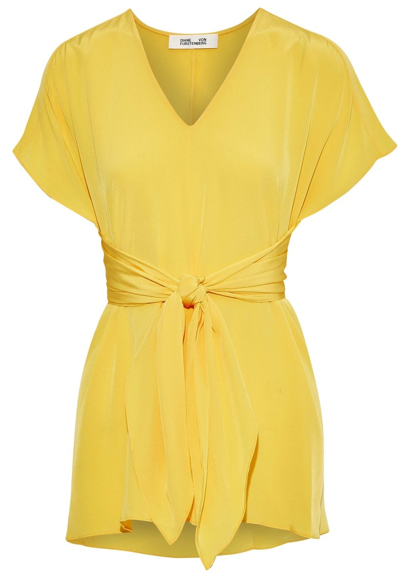 Diane Von Furstenberg Woman Lizzie Knotted Silk Crepe De Chine Top Yellow