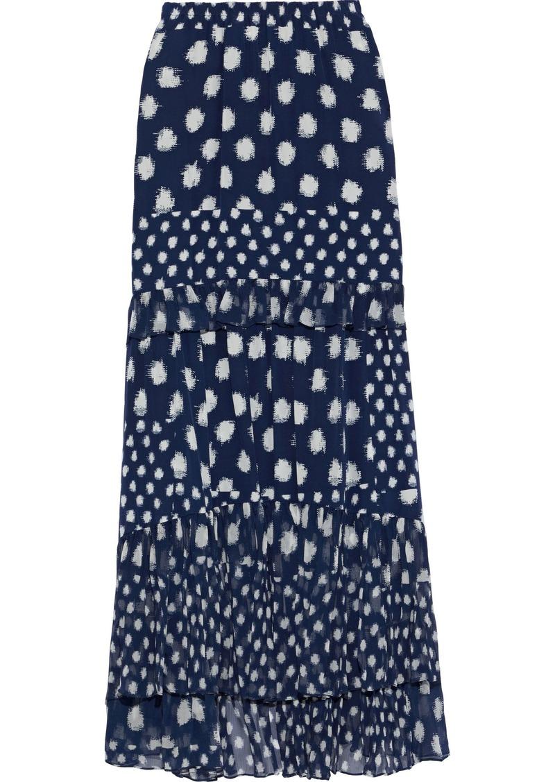 Diane Von Furstenberg Woman Lora Printed Silk Crepe De Chine And Georgette Maxi Skirt Navy