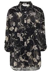 Diane Von Furstenberg Woman Lorelei Floral-print Crepon Shirt Black