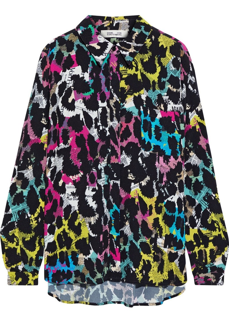 Diane Von Furstenberg Woman Lorelei Two Printed Crepe Shirt Multicolor
