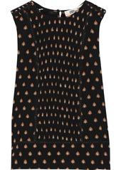 Diane Von Furstenberg Woman Lottie Shirred Printed Cotton And Silk-blend Top Black