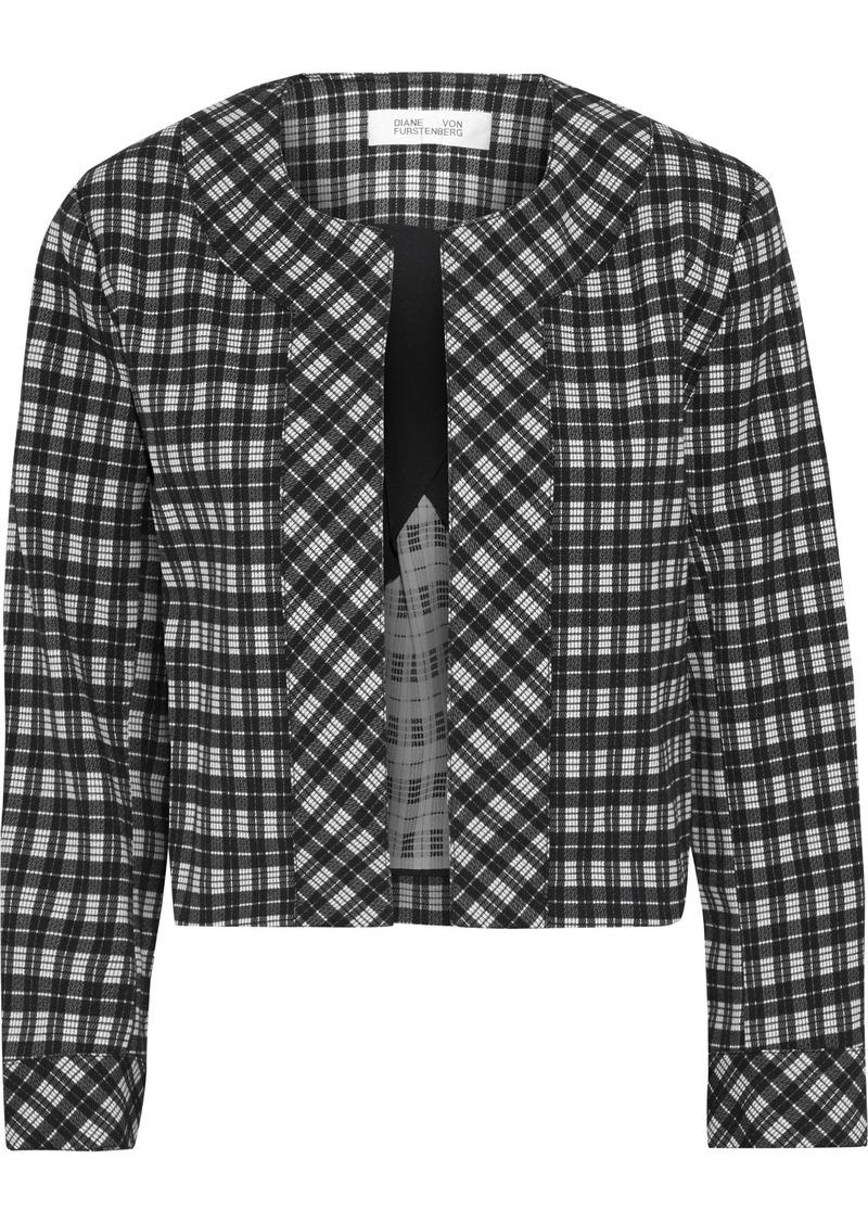 Diane Von Furstenberg Woman Lucia Checked Woven Jacket Black