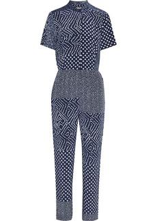 Diane Von Furstenberg Woman Lucy Patchwork Printed Silk Crepe De Chine Jumpsuit Navy