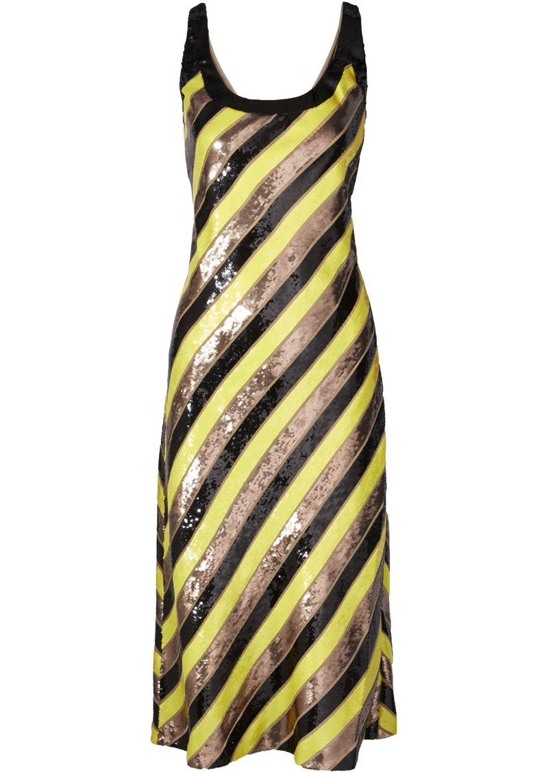 Diane Von Furstenberg Woman Luisa Striped Sequin-embellished Silk-chiffon Dress Multicolor