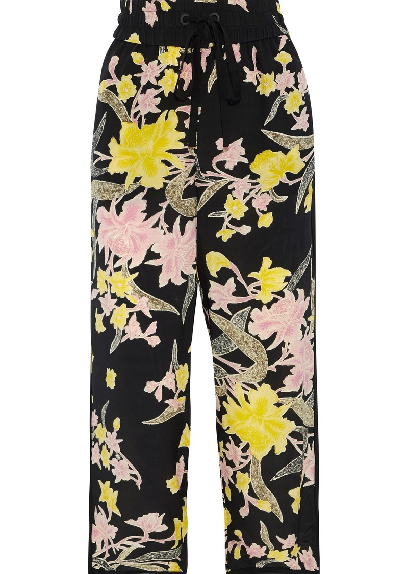 Diane Von Furstenberg Woman Lulu Cropped Printed Silk Crepe De Chine Straight-leg Pants Black