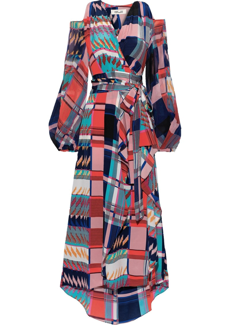 Diane Von Furstenberg Woman Lyra Cold-shoulder Chiffon-paneled Silk Crepe De Chine Midi Wrap Dress Multicolor