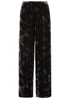 Diane Von Furstenberg Woman Mabel Floral-print Velvet Wide-leg Pants Black