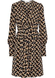 Diane Von Furstenberg Woman Maddi Tie-front Printed Crepe Peplum Dress Mustard
