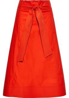 Diane Von Furstenberg Woman Maggie Tie-front Stretch Cotton-poplin Midi Skirt Papaya