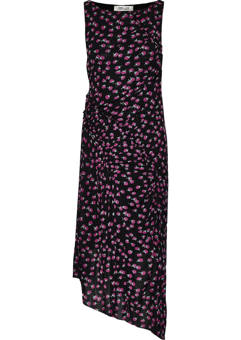 Diane Von Furstenberg Woman Maia Asymmetric Pleated Floral-print Mesh Dress Black