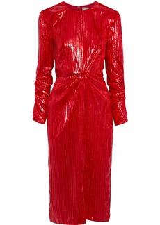 Diane Von Furstenberg Woman Mallory Twist-front Metallic Velvet Midi Dress Red