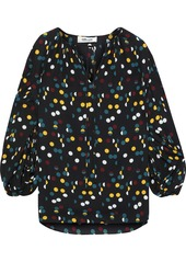 Diane Von Furstenberg Woman Maple Gathered Polka-dot Crepe De Chine Blouse Black