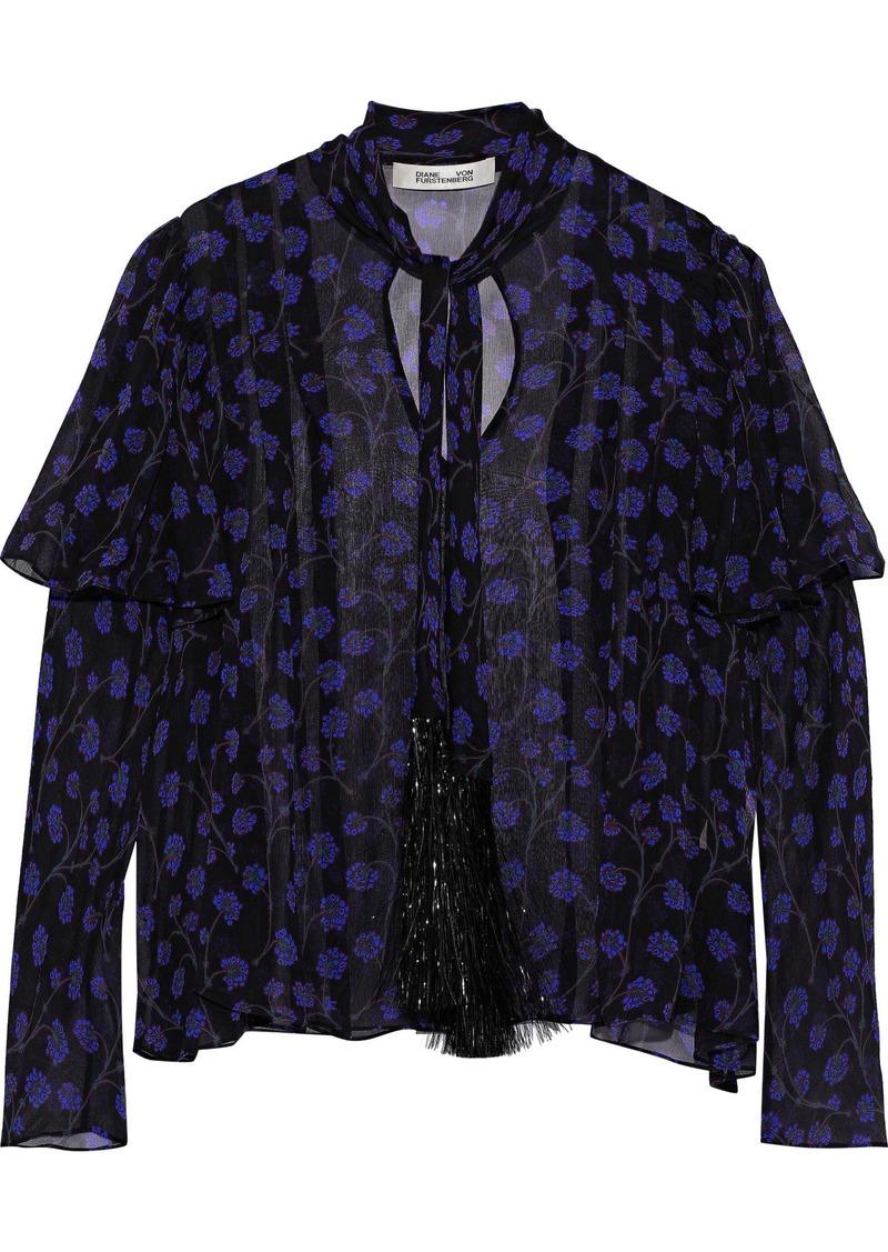 Diane Von Furstenberg Woman Margie Tie-neck Tinsel-trimmed Floral-print Silk-georgette Blouse Indigo