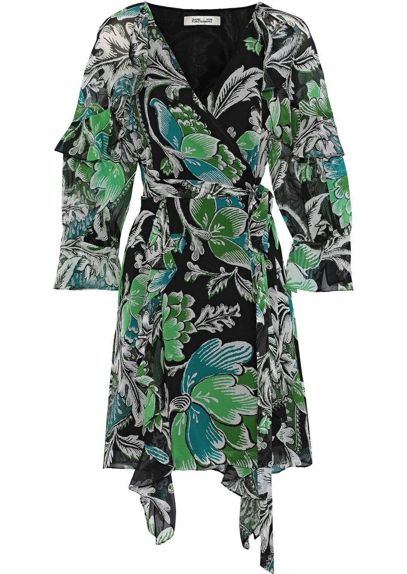 Diane Von Furstenberg Woman Marianna Printed Silk-georgette Mini Wrap Dress Black