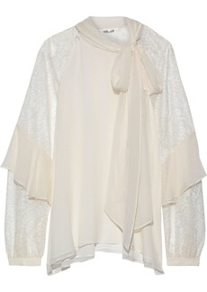 Diane Von Furstenberg Woman Mariela Pussy-bow Lace-paneled Silk-georgette Blouse Ecru