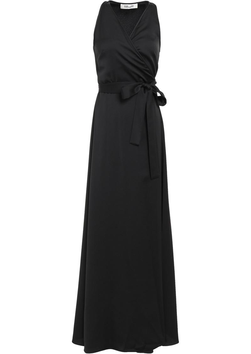 Diane Von Furstenberg Woman Marisol Satin-crepe Maxi Wrap Dress Black