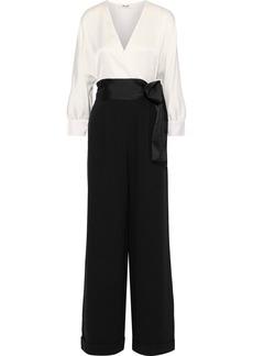 Diane Von Furstenberg Woman Marle Wrap-effect Satin And Crepe Jumpsuit Black