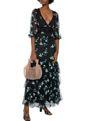 Diane Von Furstenberg Woman Marleigh Tiered Embroidered Tulle-paneled Silk Crepe De Chine Maxi Dress Black