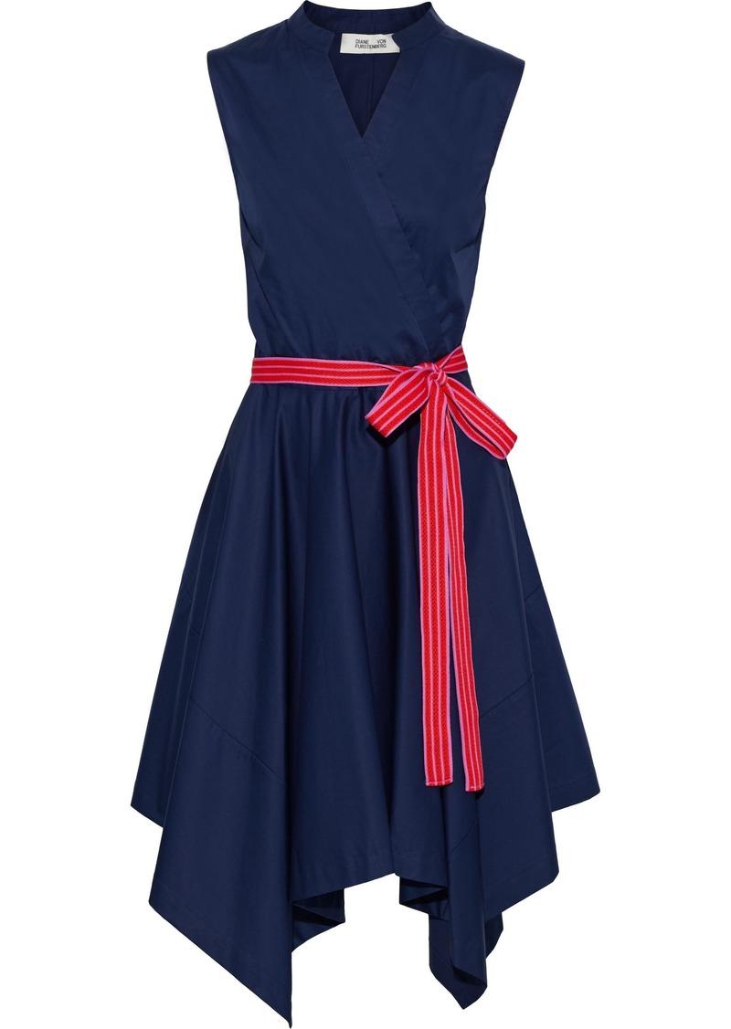Diane Von Furstenberg Woman Marlene Wrap-effect Cotton-blend Poplin Dress Navy