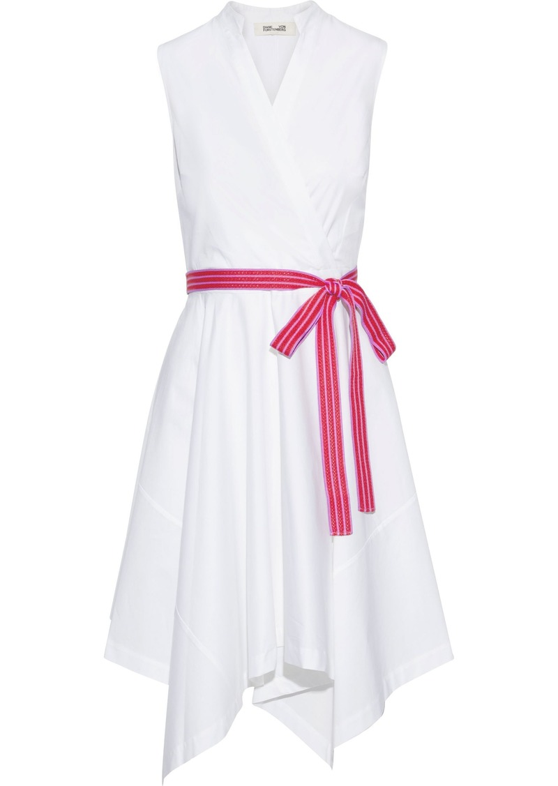 Diane Von Furstenberg Woman Marlene Wrap-effect Cotton-blend Poplin Dress White