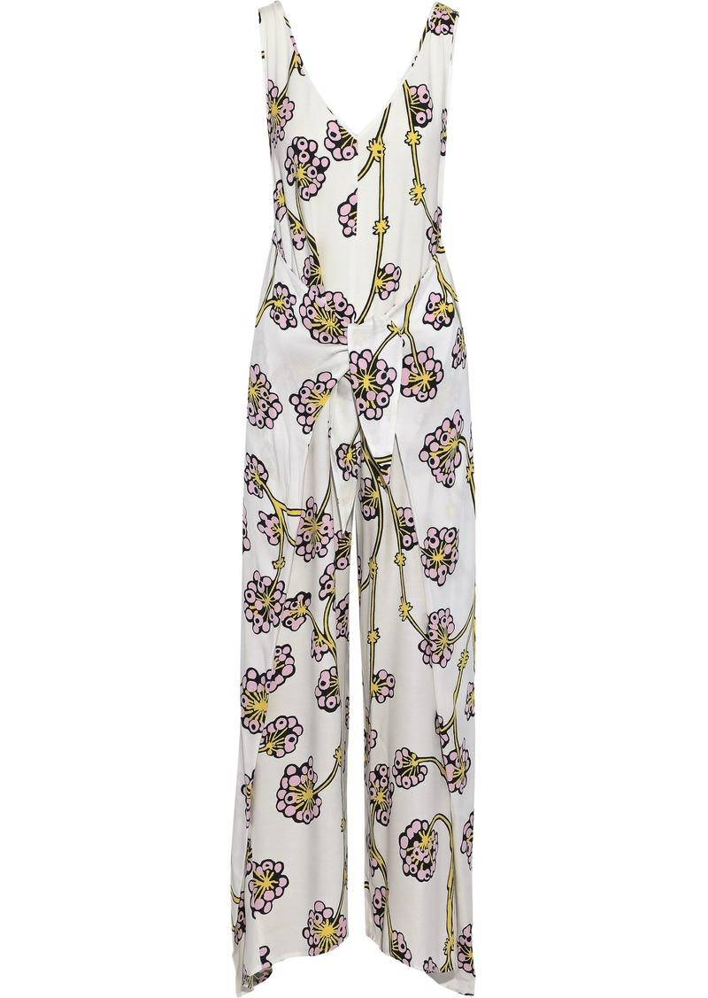 Diane Von Furstenberg Woman Marrah Tie-front Floral-print Twill Wide-leg Jumpsuit Ivory