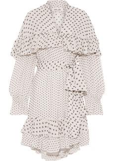 Diane Von Furstenberg Woman Martina Ruffled Fil Coupé Crepe Mini Wrap Dress Ivory