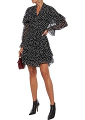 Diane Von Furstenberg Woman Martina Ruffled Printed Chiffon Mini Wrap Dress Black