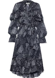Diane Von Furstenberg Woman Martina Ruffled Printed Georgette Midi Wrap Dress Navy