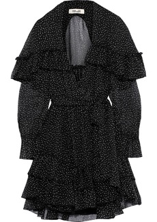 Diane Von Furstenberg Woman Martina Tiered Polka-dot Silk-georgette Mini Wrap Dress Black