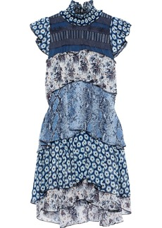 Diane Von Furstenberg Woman Matilda Tiered Tulle-paneled Printed Silk-georgette Mini Dress Light Blue
