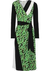 Diane Von Furstenberg Woman Maureen Printed Silk-jersey And Crepe De Chine Wrap Dress Black