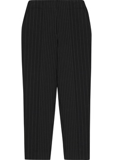 Diane Von Furstenberg Woman Mavis Cropped Pinstriped Cady Straight-leg Pants Black