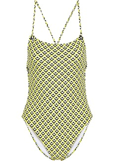 Diane Von Furstenberg Woman Maya Open-back Printed Swimsuit Yellow