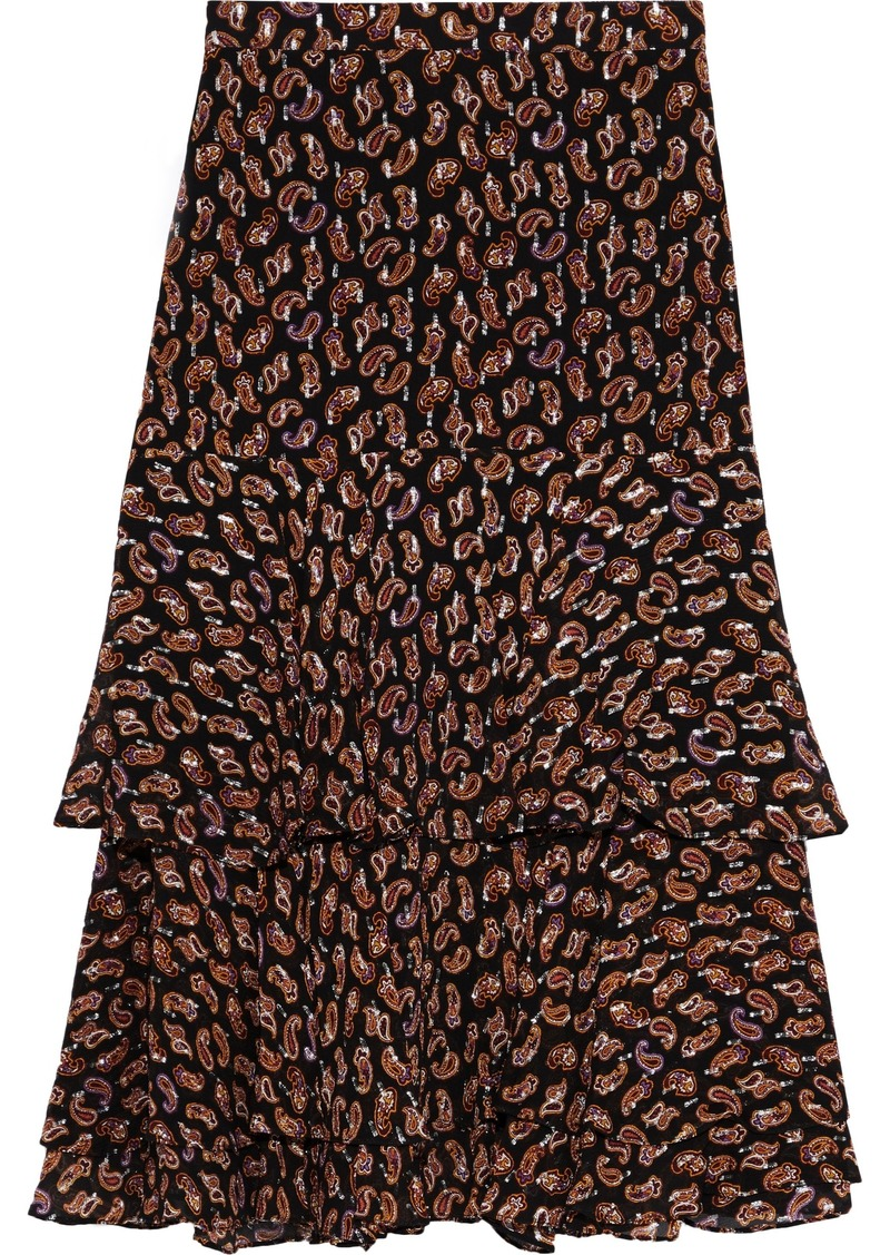 Diane Von Furstenberg Woman Meg Printed Metallic Fil Coupé Silk-blend Skirt Black
