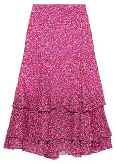 Diane Von Furstenberg Woman Meg Tiered Floral-print Silk-georgette Skirt Fuchsia
