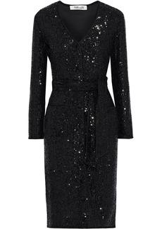Diane Von Furstenberg Woman Melina Belted Sequined Stretch-mesh Dress Black