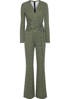 Diane Von Furstenberg Woman Melinda Wrap-effect Printed Silk-jersey Jumpsuit Black